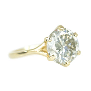 3.81ct Round Grey-Green Diamond Six Prong Split Shank Solitiare In 14k Yellow Gold