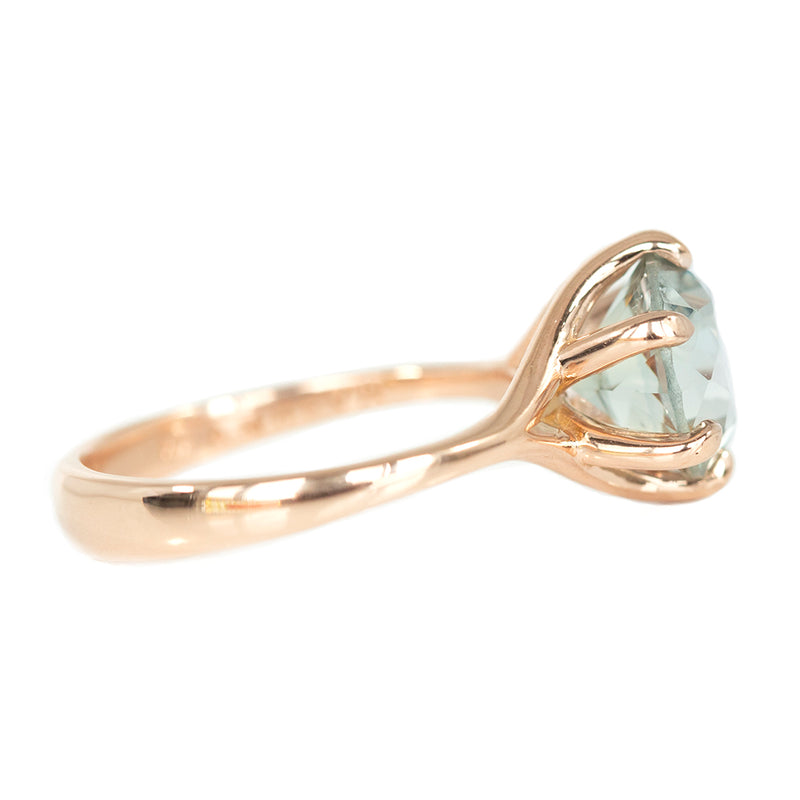 3.37ct GIA Blue-Grey Montana Sapphire Low Profile Six Prong Split Shank Ring in 14k Rose Gold