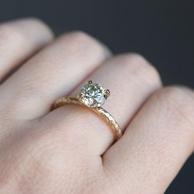 1.50ct GIA Fancy Light Green Diamond Ring in Yellow Gold Evergreen Solitaire