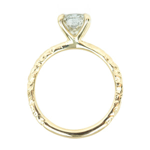1.42ct Round Salt And Pepper Diamond Solitaire Evergreen Ring In 14k Yellow Gold