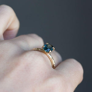 1.60ct Deep Teal Oval Sapphire Ring in Yellow Gold Evergreen 4 Prong Solitaire