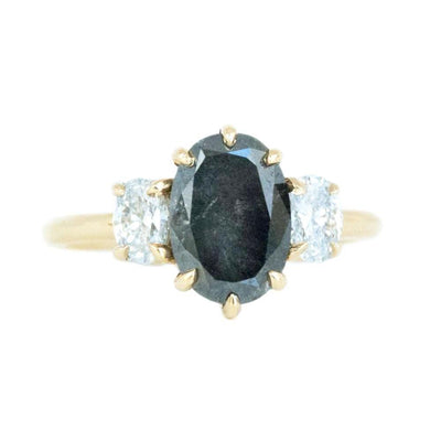 Antique Inspired Three Stone Oval Black Diamond Ring in Yellow Gold