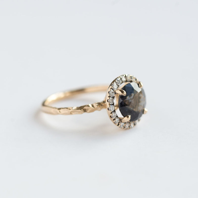blue grey spinel sapphire diamond halo gemstone ring jewelry