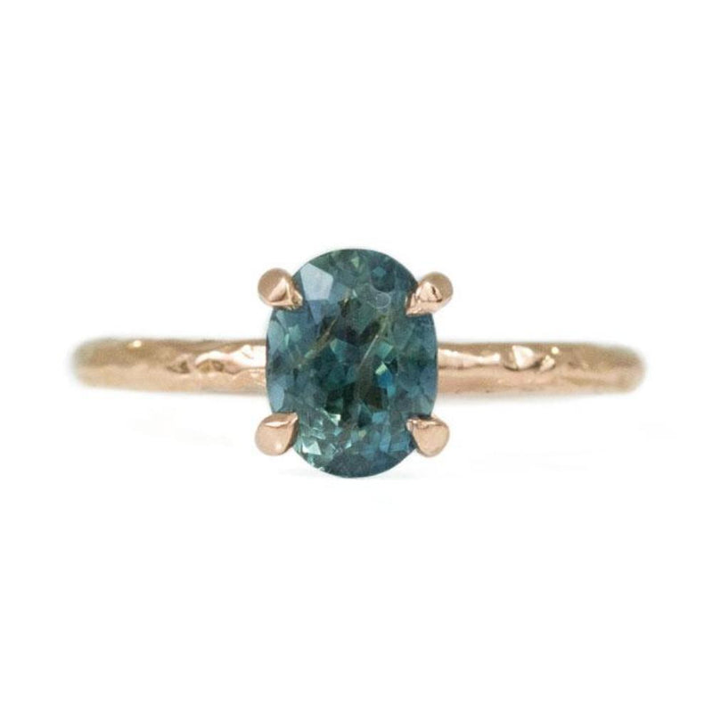 1.81ct Blue Oval Ceylon Sapphire Ring in 14k Rose Gold Evergreen Solitaire