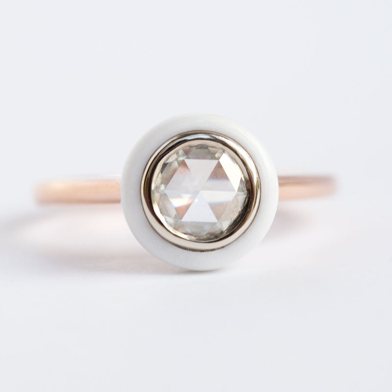 (Reserved) READY TO SHIP  White Onyx and Rose Cut Moissanite Ring - Onyx Target Ring - White Engagement Ring - Rose Gold - by Anueva Jewelry