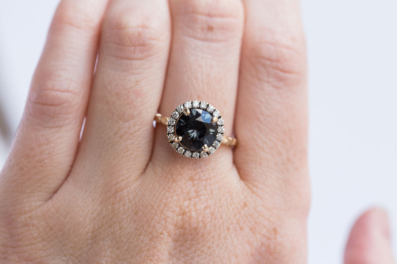 evergreen blue grey spinel sapphire diamond halo gemstone ring jewelry