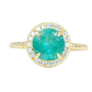 1.33ct Round Emerald in Evergreen 18K Yellow Gold Low Profile Diamond Halo Ring