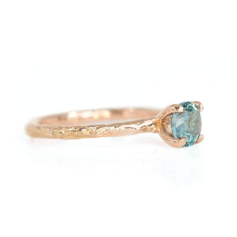 1.16ct Teal Montana Sapphire Ring in 14k Rose Gold Evergreen Solitaire