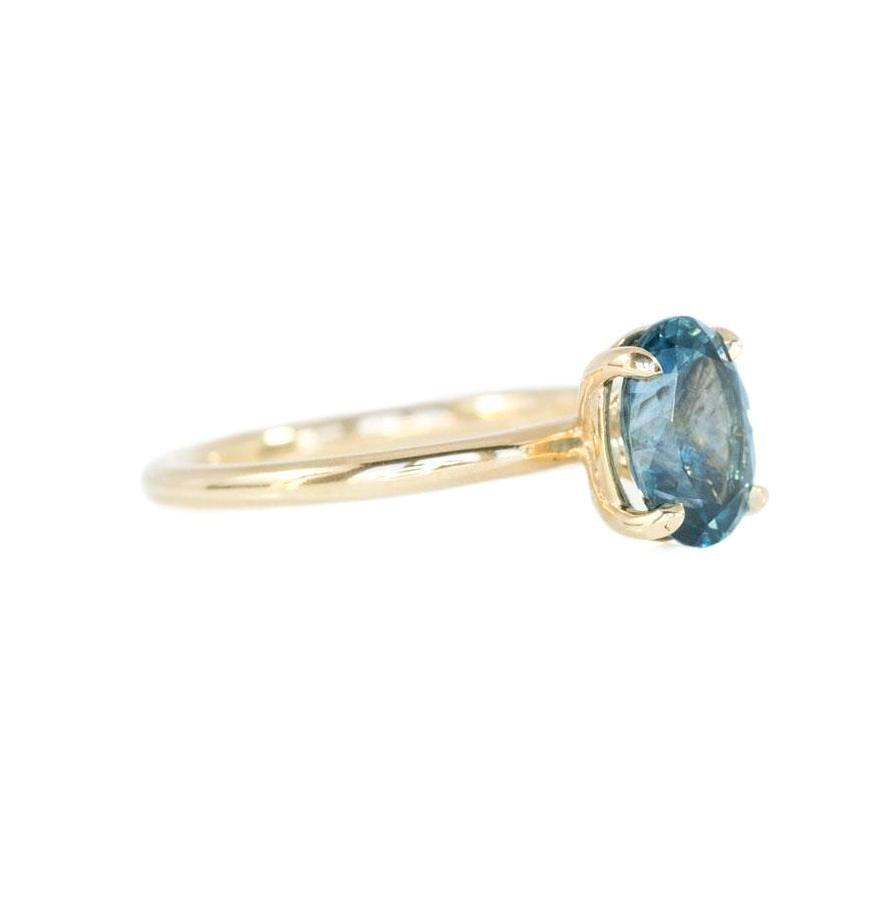 2.09ct Oval Montana Sapphire Ring, Steely Ocean Blue in 14k Yellow Gold Solitaire