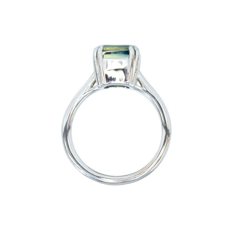 3.56ct Parti Radiant Cut Sapphire Ring, Blue/Green/Yellow/Teal with Double Claw Prongs in 14k White Gold