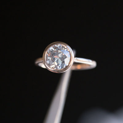 2.13ct Round Bezel Set Grey Salt and Pepper Old European Cut Diamond Ring in 14k Rose Gold