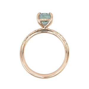 2.09ct Oval Pastel Blue Montana Sapphire Ring in 14k Rose Gold Diamond-Studded Solitaire