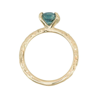 1.62ct Oval Montana Sapphire Engagement Ring in 14k Yellow Gold Evergreen Solitaire
