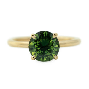 2.02ct Round Green Sapphire Solitaire In 14k Yellow Gold