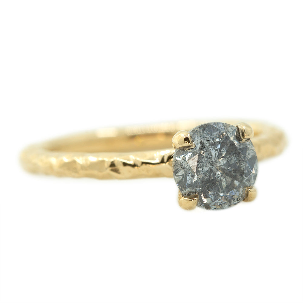 1.15ct Round Salt And Pepper Diamond Evergreen Solitaire In 14k Yellow Gold