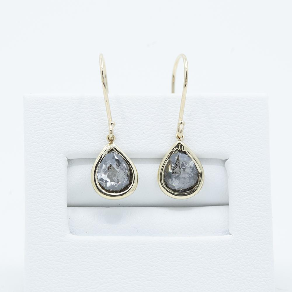 Pear Rosecut Diamond Dangle Earrings in 14k Yellow Gold