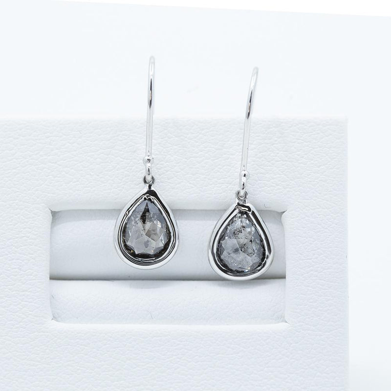 Pear Rosecut Diamond Dangle Earrings in 14k White Gold