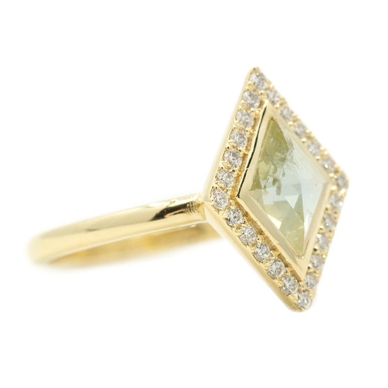 0.57ct Kite Shaped Rosecut Low Profile Halo Ring in 14k Yellow