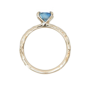 1.34ct Oval Watercolor Blue Sapphire Engagement Ring in 14k Yellow Gold Evergreen Solitaire