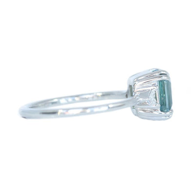 2.30ct Emerald Cut Untreated Montana Sapphire Ring with Trillion Side Diamonds in 14k White Gold