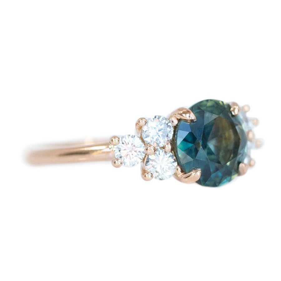 2.07ct Untreated Green Parti Sapphire and White Diamond Side Stone Cluster Ring in 14K Rose Gold