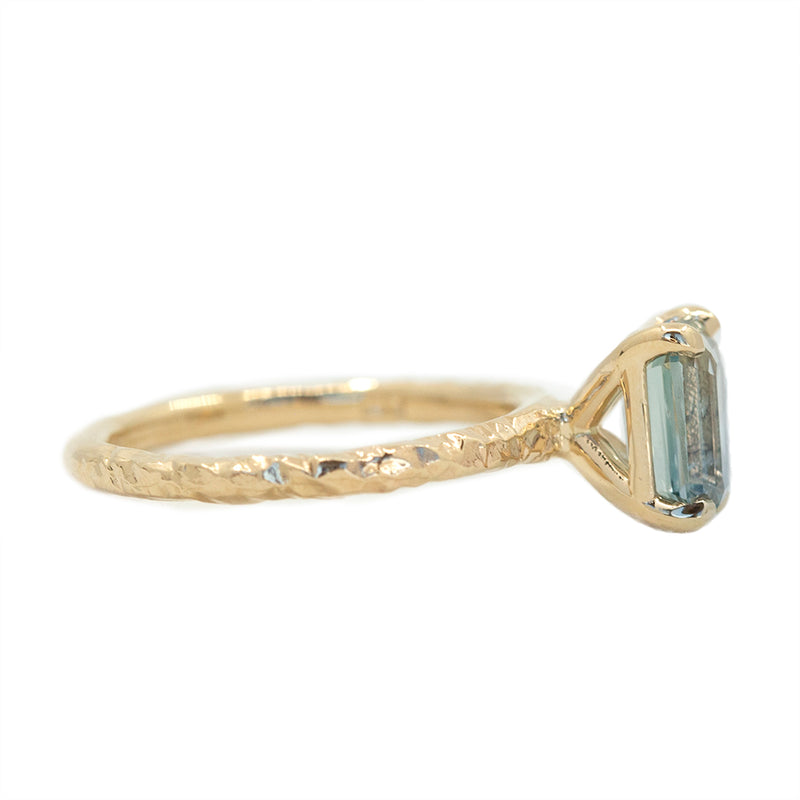 1.91ct Emerald Cut Montana Sapphire Evergreen Solitaire Ring in 14k Yellow Gold