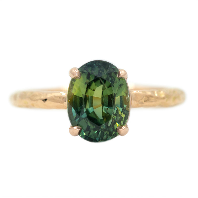 Temporary Hold- 3.07ct Oval Green Parti Sapphire Low Profile 4 Prong Solitaire in 14k Rose Gold