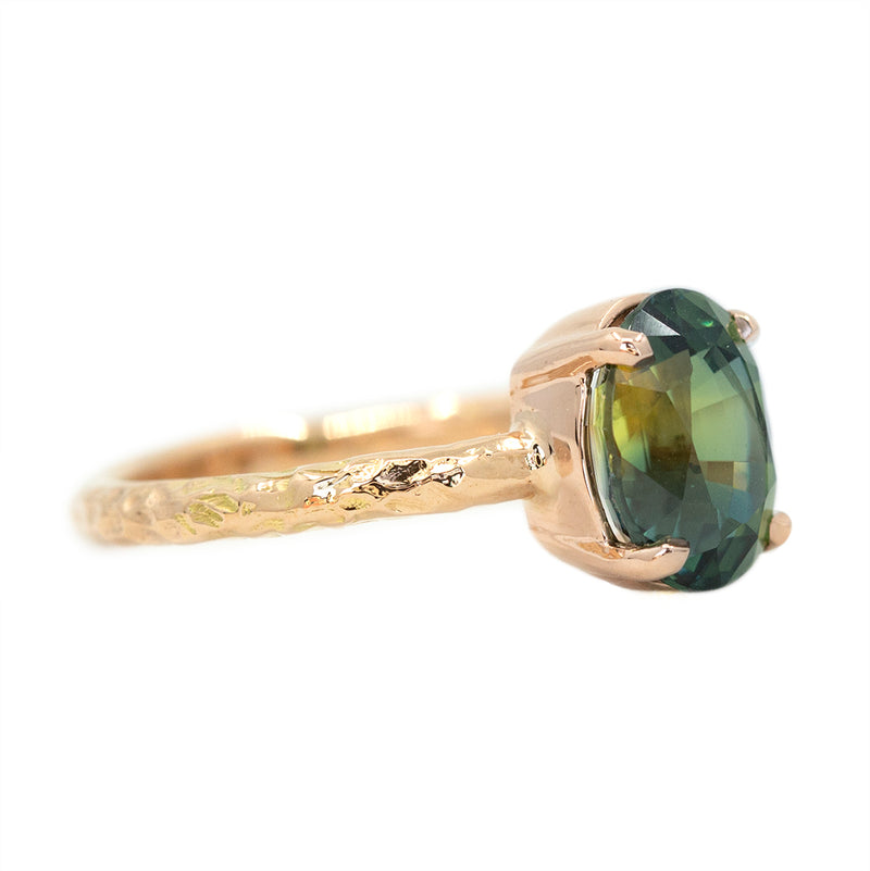 3.07ct Oval Green Parti Sapphire Low Profile 4 Prong Solitaire in 14k Rose Gold