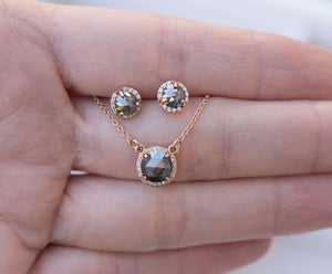 Rosecut Diamond Necklace and Earrings Set - Galaxy black salt and pepper rosecut diamond jewelry in rose gold diamond halo by Anueva Jewelry