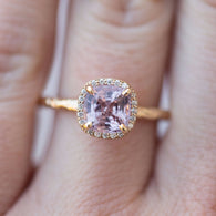 Lavender Lilac Cushion Spinel and Diamond Engagement Ring in Hand Carved Recycled Yellow Gold Earthy Setting - Gemstone Engagement Ring by Anueva Jewelry