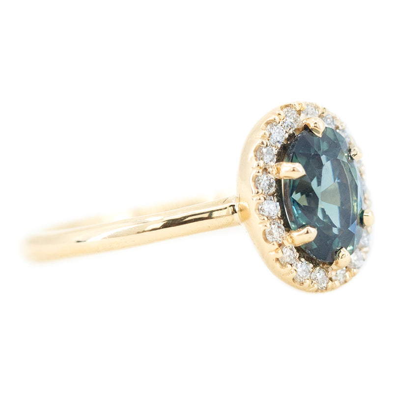 1.46ct Oval Blue Sapphire Low Profile Diamond Halo Ring In 14k Yellow Gold