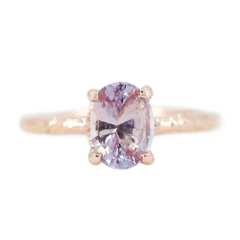 1.82ct Oval Peachy Pink Sapphire Evergreen Solitaire Ring In 14k Rose Gold