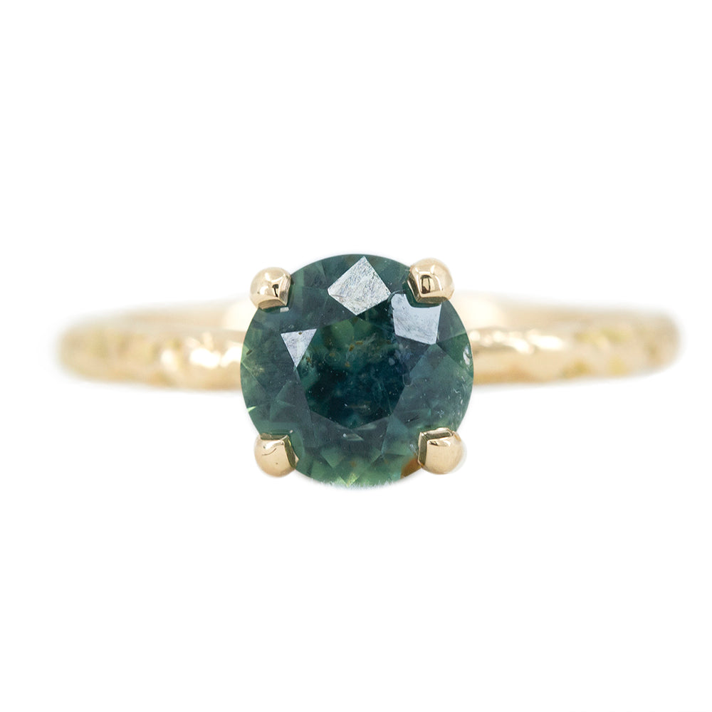 1.73ct Round Green-Blue Teal Sapphire Evergreen Solitaire In 14k Yellow Gold