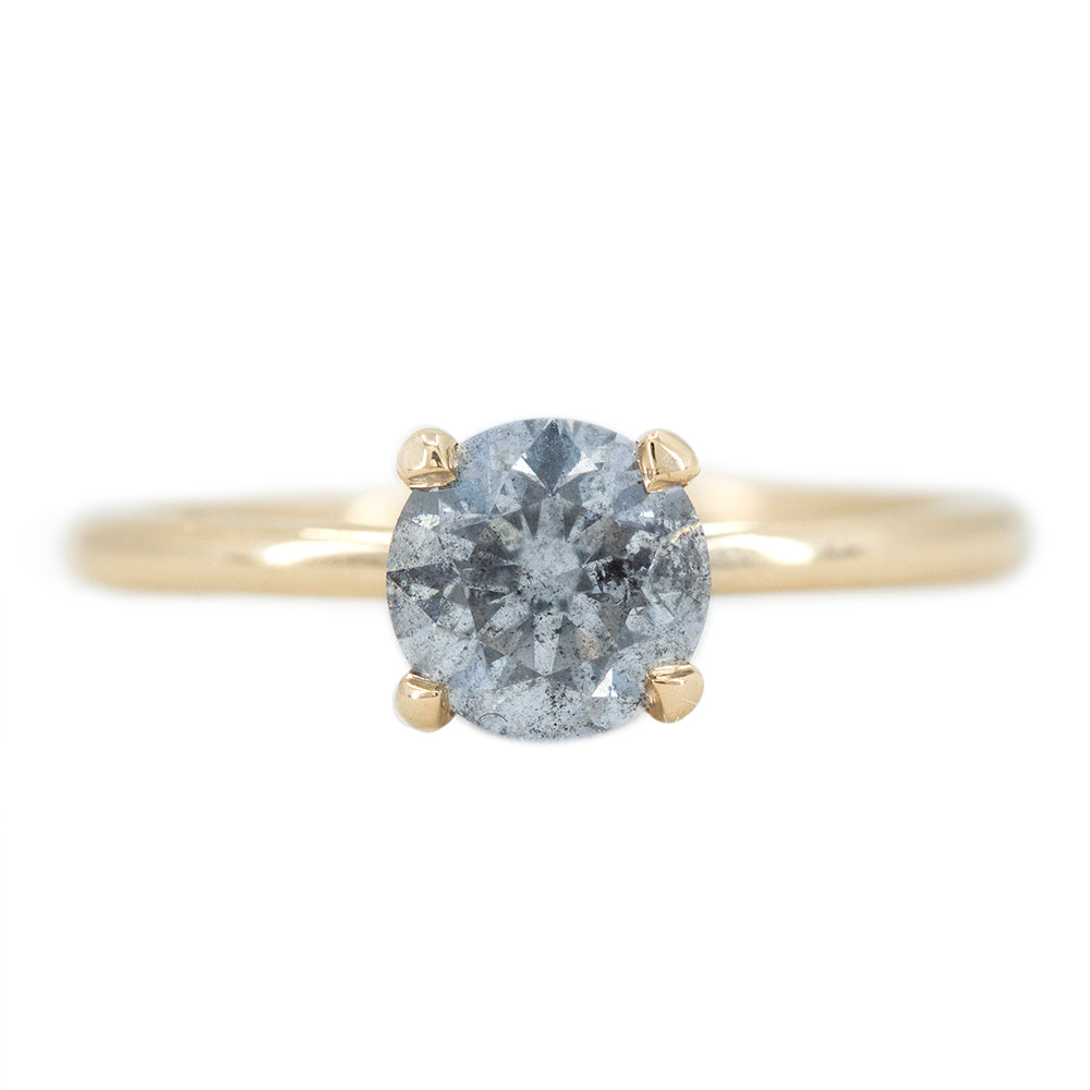 1.09ct Round Salt and Pepper Diamond Solitaire in 14k Yellow Gold