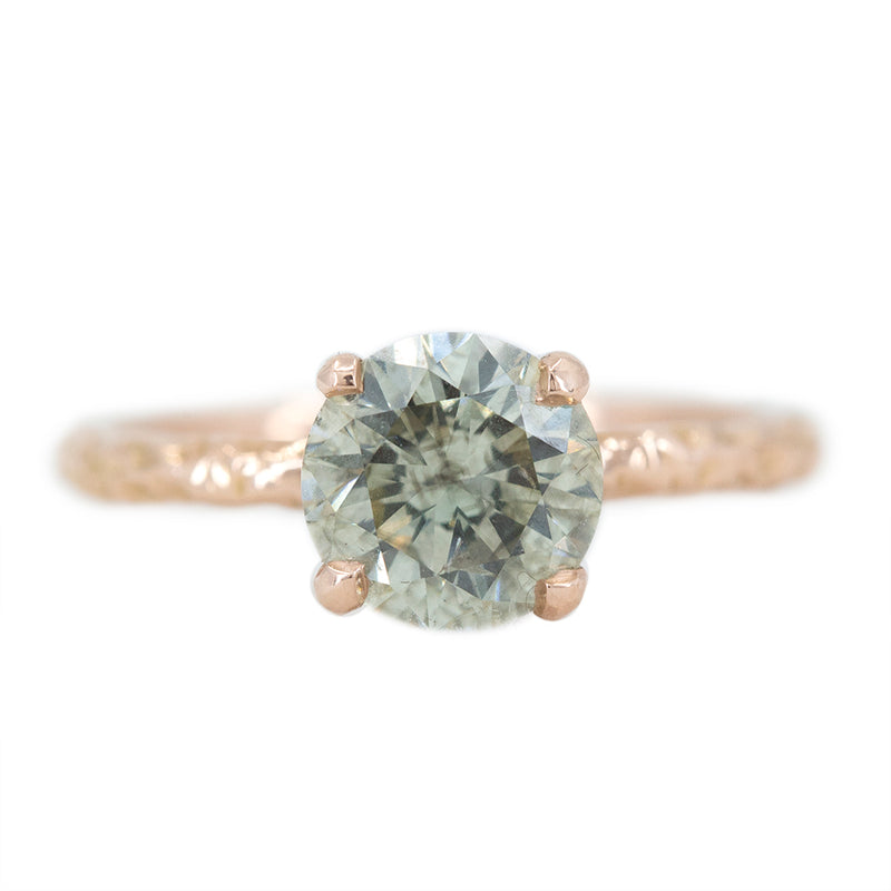 1.62ct Round Champagne-Grey Diamond Evergreen Solitaire in 14k Rose Gold