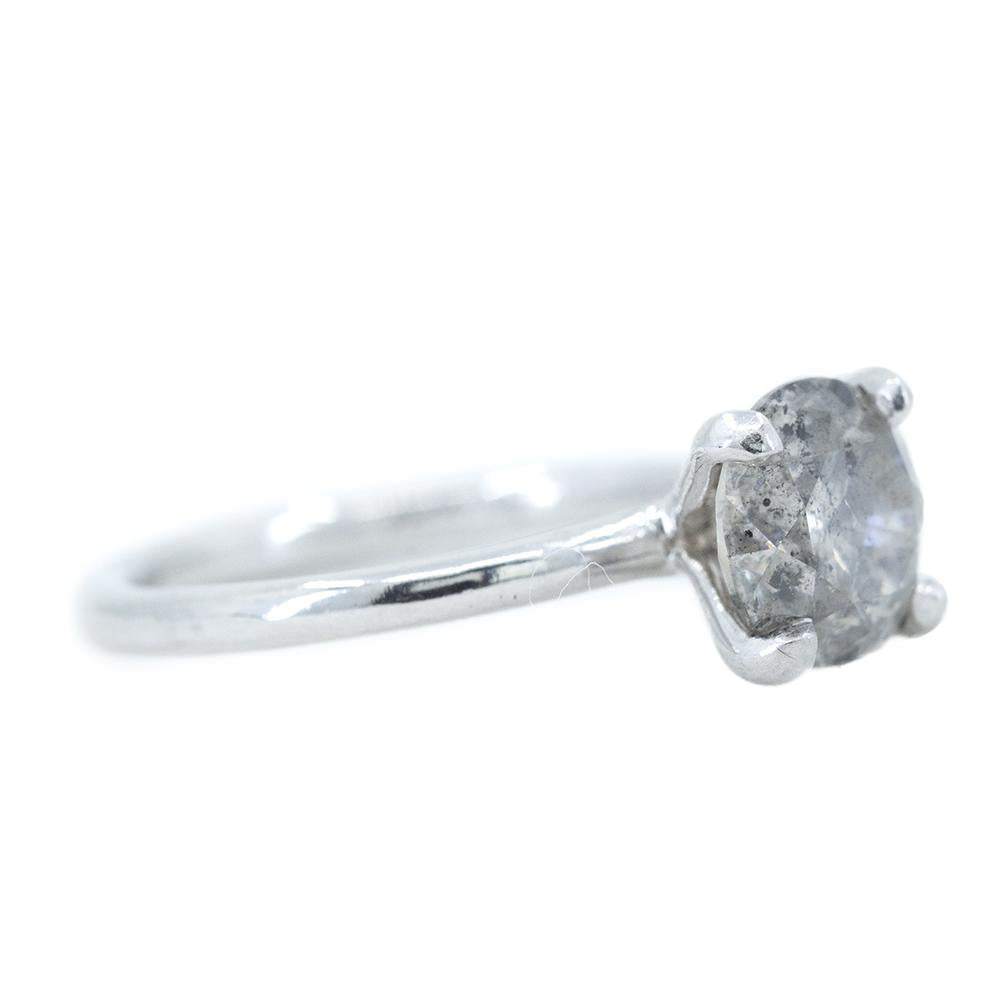2.06ct Round GIA Fancy Grey Salt And Pepper Diamond Solitaire Ring In Platinum