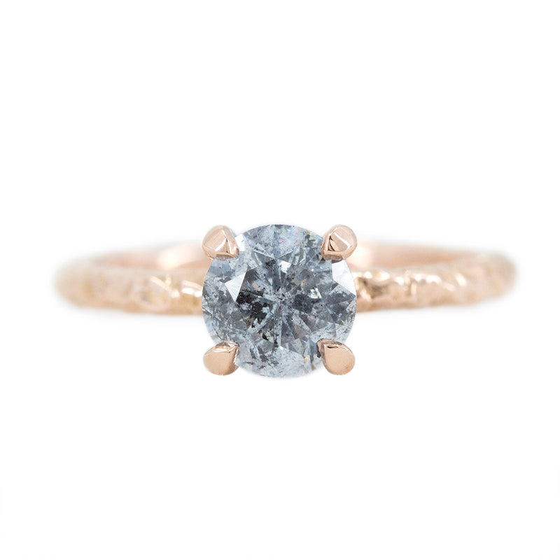 1.04ct Round Salt And Pepper Diamond Evergreen Solitaire In 14k Rose Gold