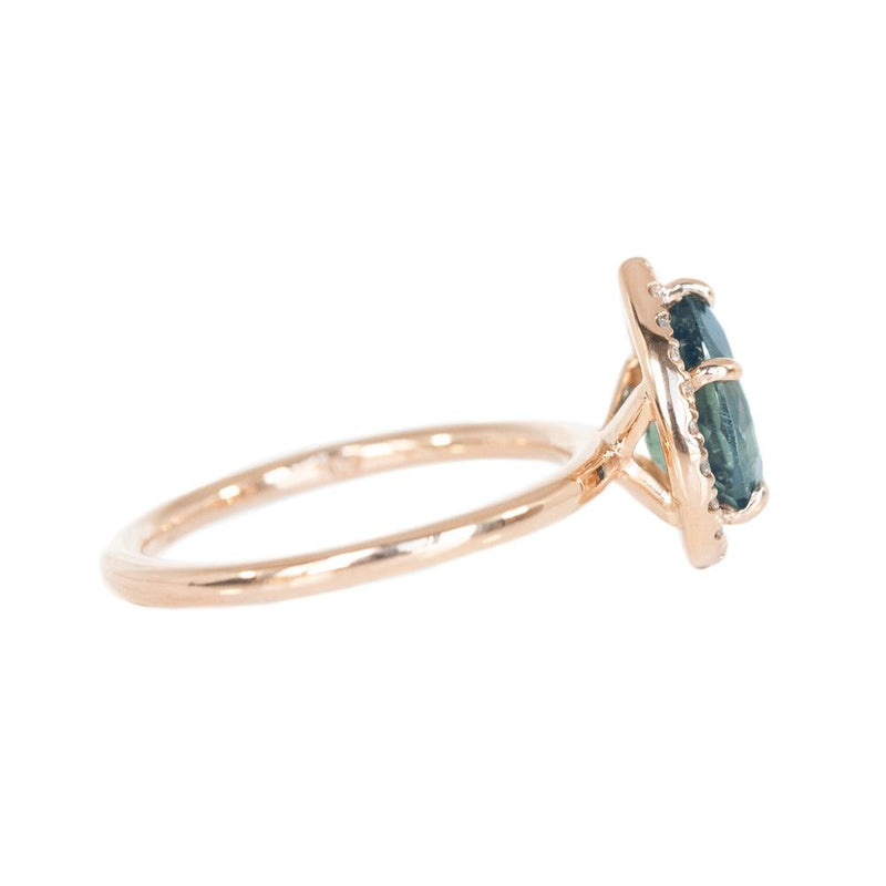 1.96ct Pear Sapphire Halo Ring in 14k Rose Gold