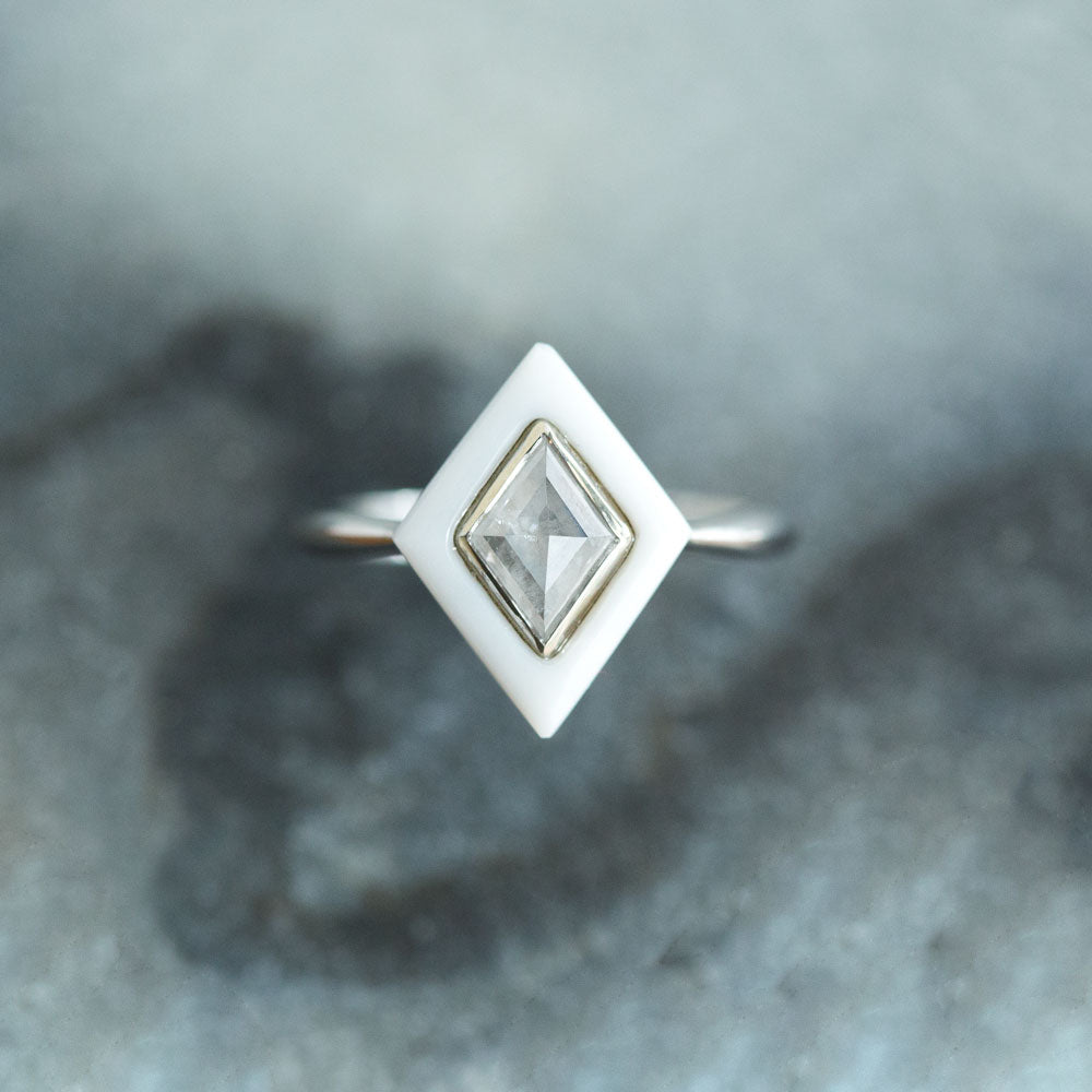 0.64ct Rosecut Diamond and White Onyx Gemstone Halo Ring - White Onyx Art Deco Ring in 14k White Gold