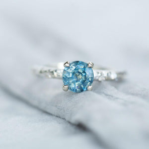 1.18ct Montana Sapphire Ring in White Gold Evergreen Solitaire with Scattered Embedded Diamonds