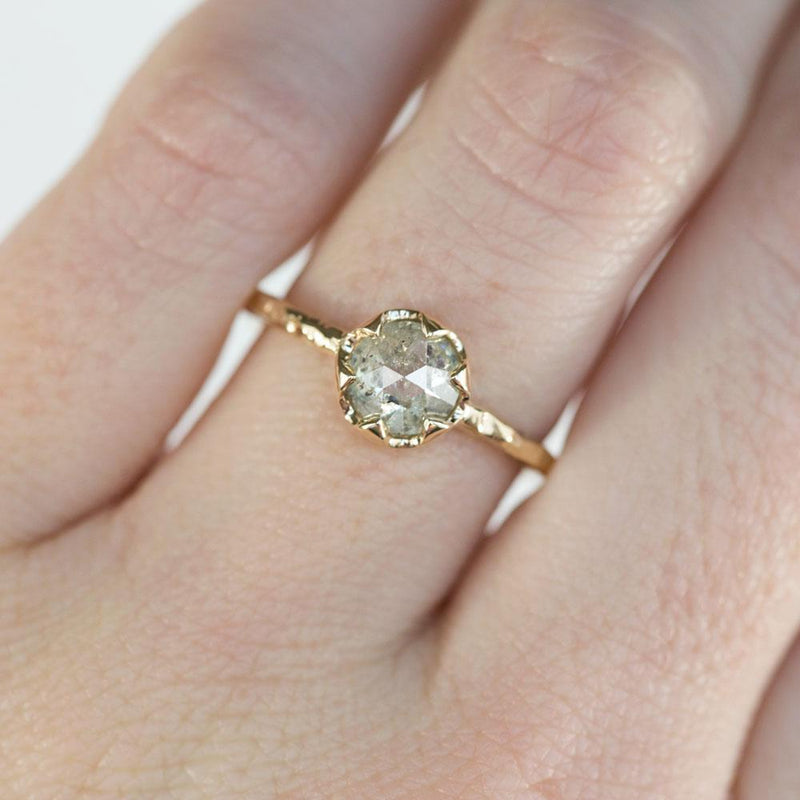 0.95ct Rosecut Green Grey Diamond 6-Prong Low Profile Ring with Evergreen Textured Band in Yellow Gold