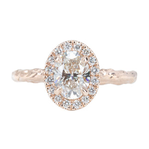 1.03ct Oval Champagne Diamond and White Diamond Evergreen Halo Ring in 14k Rose Gold