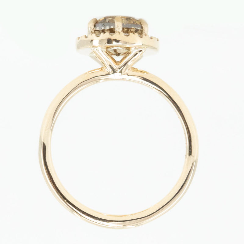 1.85ct GIA Crown Jubilee® Diamond Six Prong Halo Ring in 14k Yellow Gold
