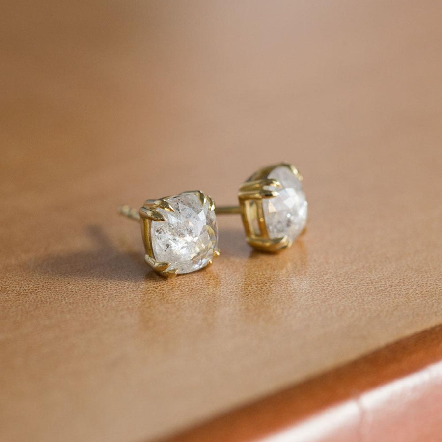 TEMPORARY HOLD: Cushion Rosecut Diamond Earrings in 18k Yellow Gold Double Prong Settings - 2.68ctw