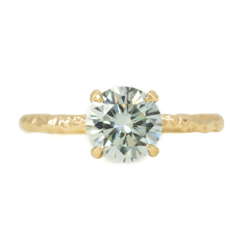 7mm Grey Moissanite Evergreen Solitaire in 14k yellow gold by Anueva Jewelry
