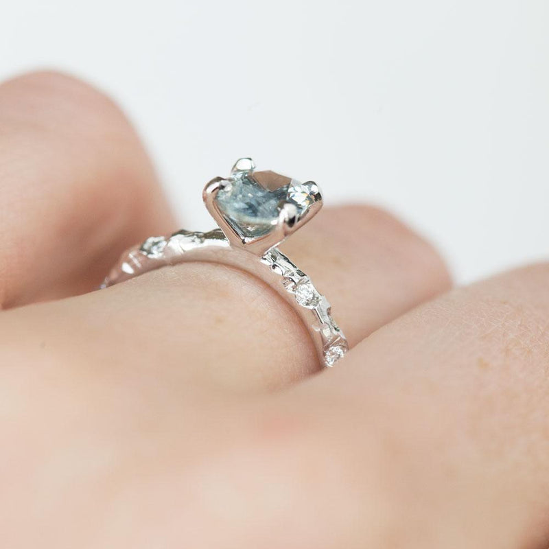 1.30ct Oval Icy Blue Montana Sapphire Ring with Embedded Diamonds in 14k White Gold