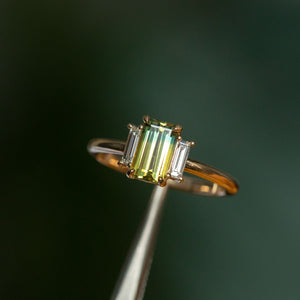 1.37ct Parti Emerald Cut Sapphire and Diamond Low Profile Three Stone Ring in 14k Yellow Gold