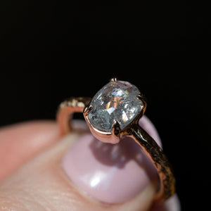 1.28ct Rosecut Oval Salt and Pepper Diamond Low Profile Evergreen Solitaire in 14k Rose Gold
