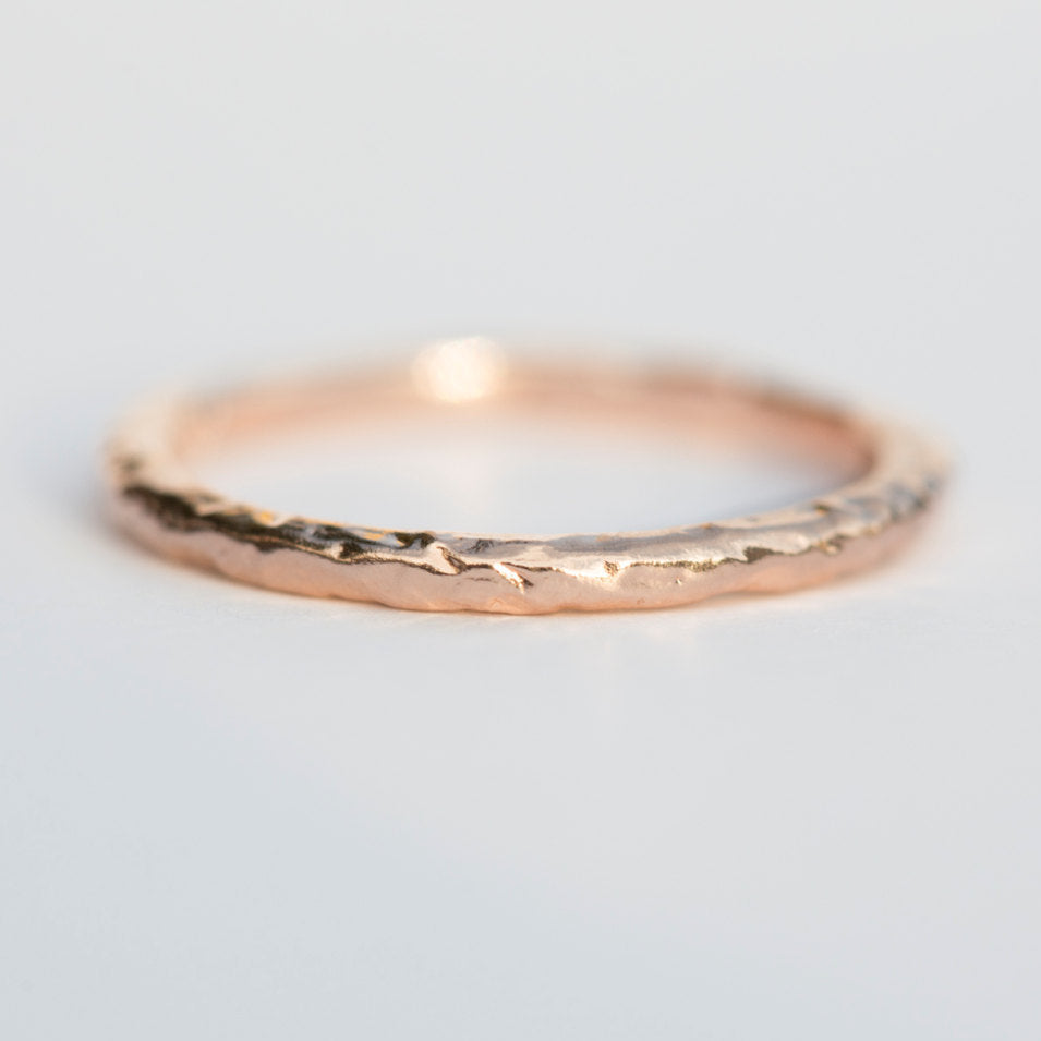 rose gold wedding band anuevajewelry ring by thin carved eco anueva recycled bands jewelry stacking evergreen bark products rosegoldband in