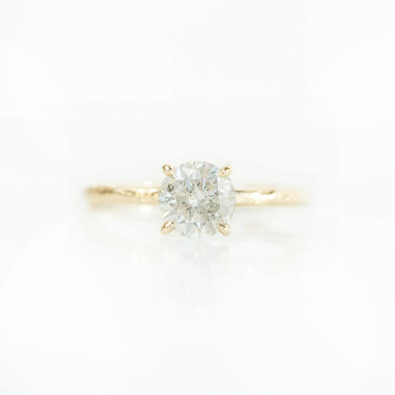 1.05ct Light Grey/White Salt and Pepper Diamond Evergreen 4 Prong Solitaire in 14k Yellow Gold